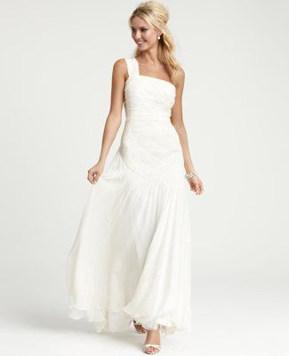 Ann Taylor-Silk Georgette Radiating Pleats One Shoulder Wedding Gown ...