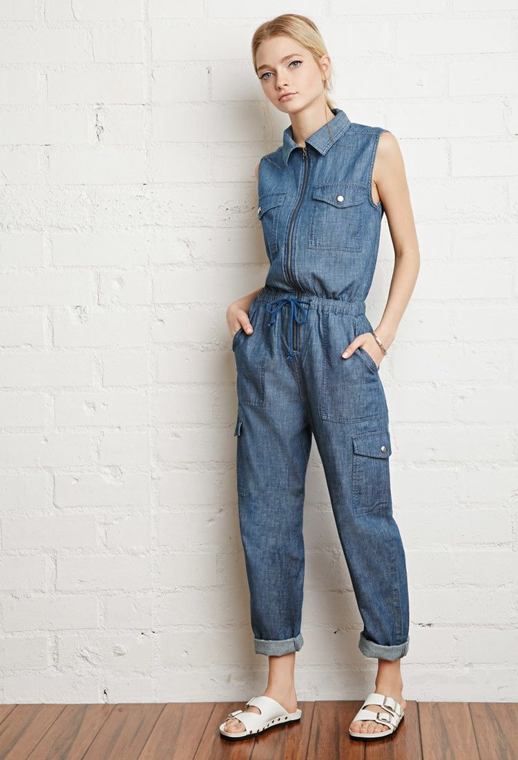 Zip Front Chambray Jumpsuit Forever 21 2000140966 Clothing