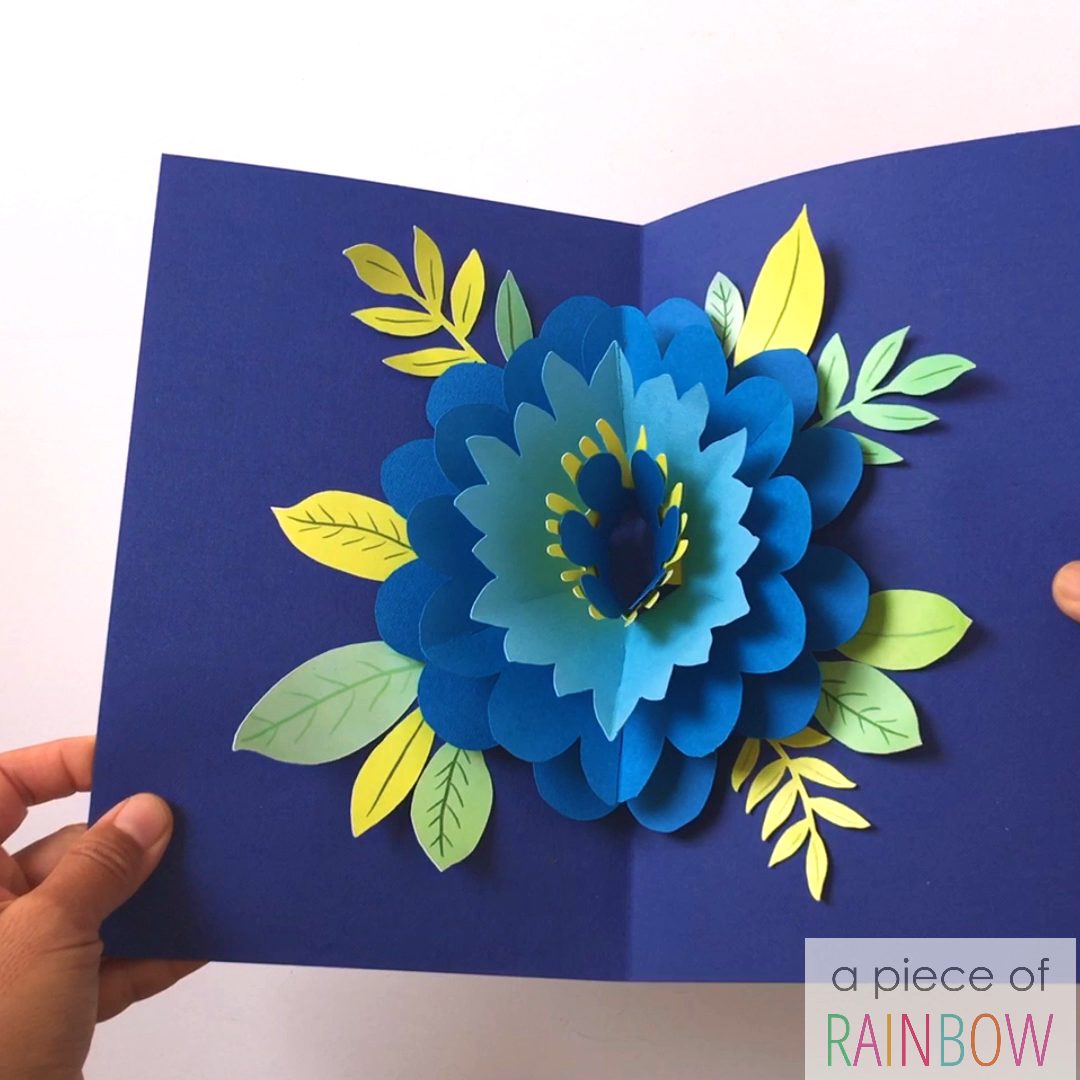 Make an easy DIY Happy Mother's Day card with big pop up flower beautiful enough to keep and frame! Tutorial, video & free printable templates for both handmade versions and Cricut print and cut! - A Piece of Rainbow #diy #crafts #crafting #papercraft #papercrafts #greetingcard #valentinesday #birthday #mothersday #flower #cricut #cricutmaker #cricutcrafts