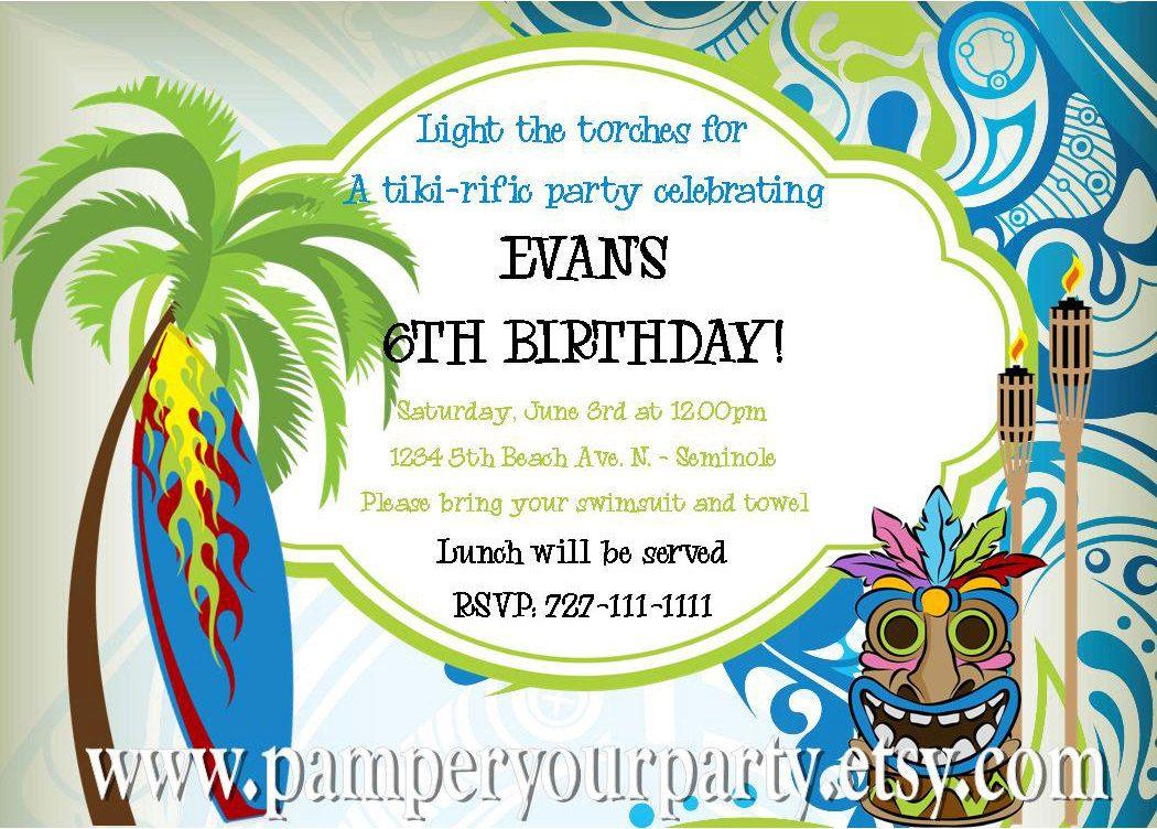 ON SALE - Tiki Party Boys Invitation - Luau - Surf - Surfing Invite ...
