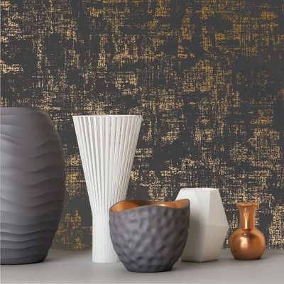 Devine Color Distressed Weave Charcoal & Karat Wallpaper