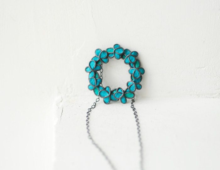 Blue Ivy Forget Me Not Flower Necklace, 1st Anniversary Wedding Jewelry, Paper Artisan Wearable Art..... $60.00, via Etsy.