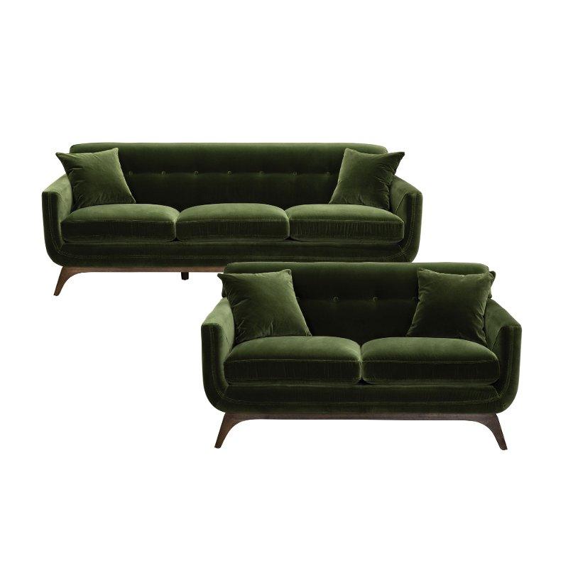 modern olive green 2 piece living room set  falkirk in