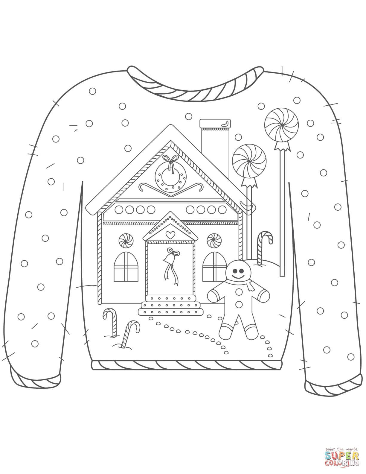 Christmas Ugly Sweater With Gingerbread Man Motif Coloring Page From Christmas Sweaters Category