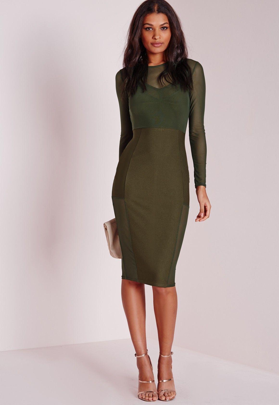 Missguided long sleeve mesh midi dress khaki fashion pinterest