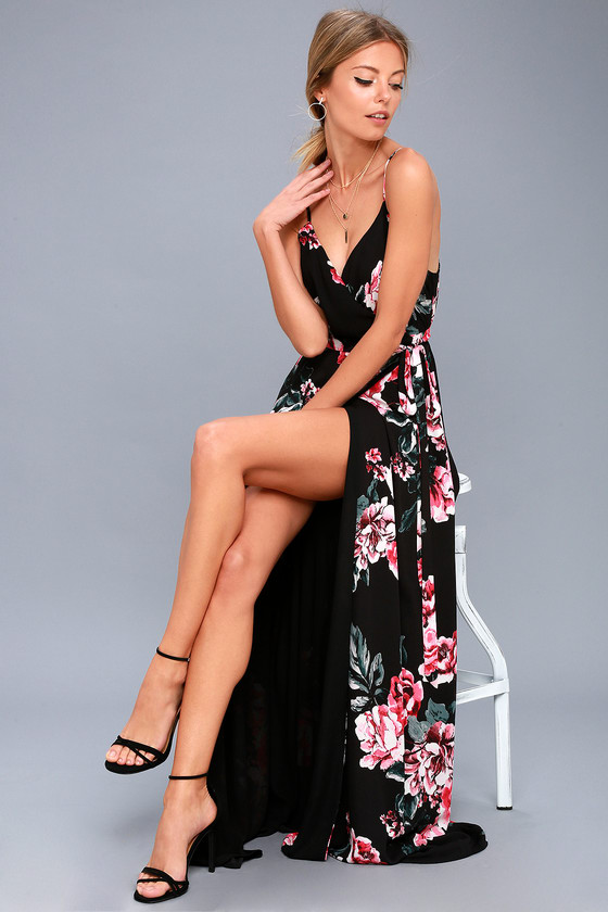 241f3ec0f885 Twirl the night away in the Floral Flirtation Black Floral Print Wrap Maxi  Dress! Lightweight woven poly in a stunning black, red, pink and green rose  print ...