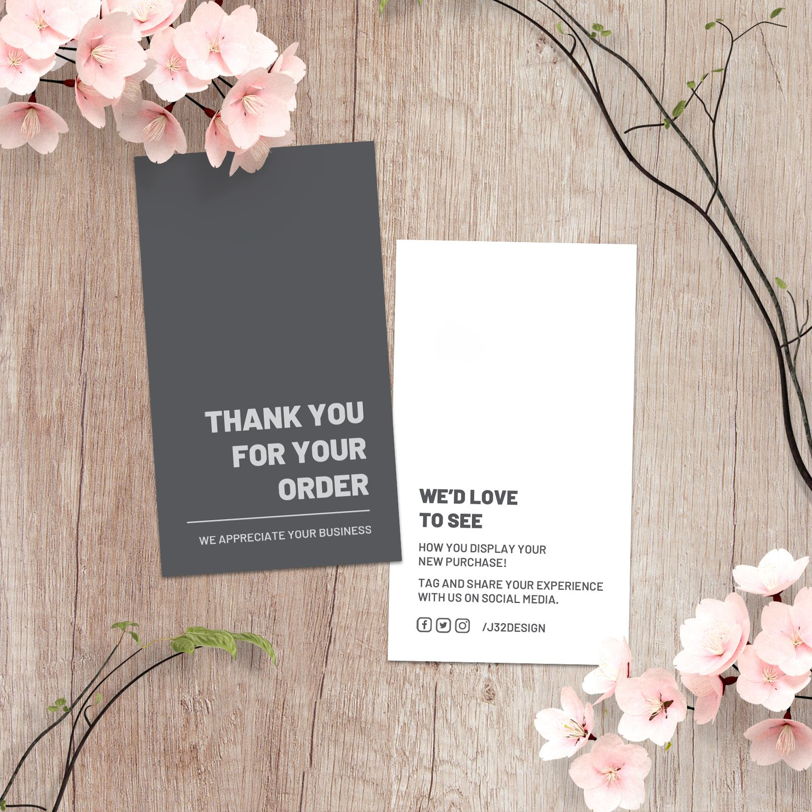 Thank You For Your Order Card Templates Business Card Sized Etsy Thank You Card Design Business Thank You Cards Minimalist Business Cards