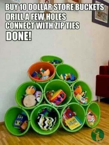 Buckets and zip ties, very cute idea for a boys room.
