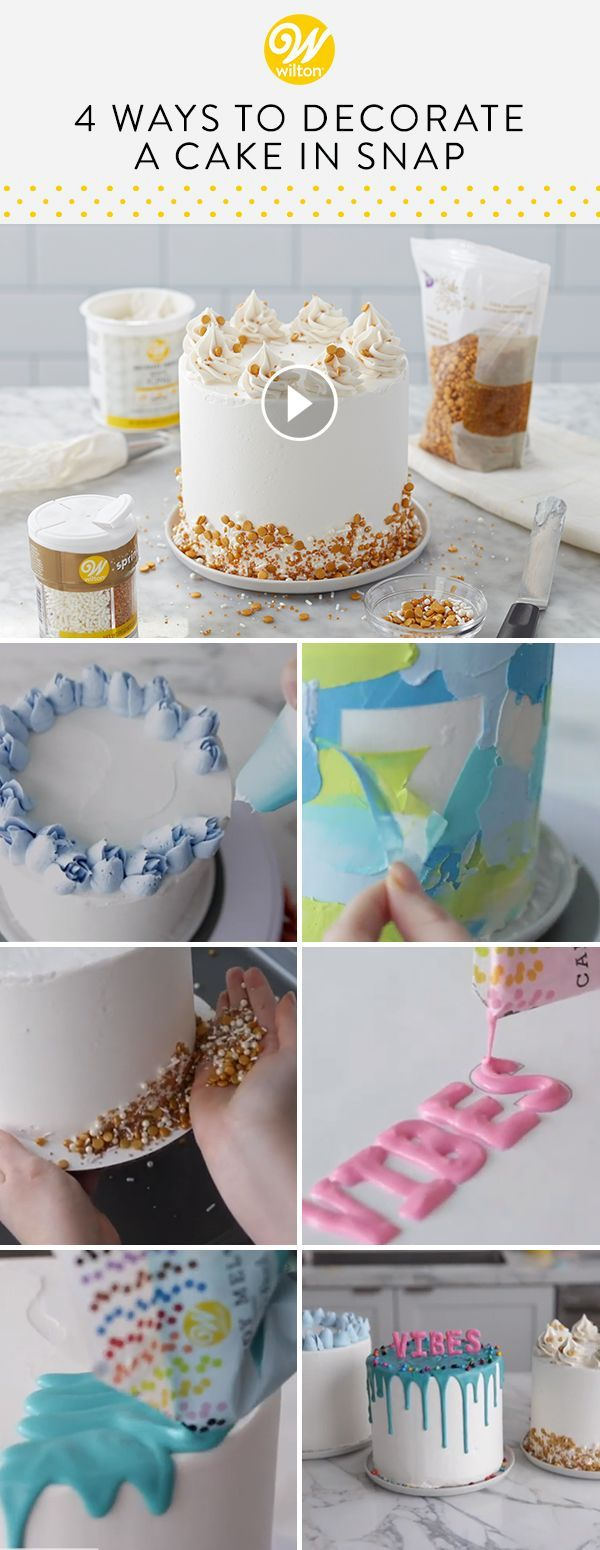 Learn four easy ways to decorate a cake in a snap! These ...