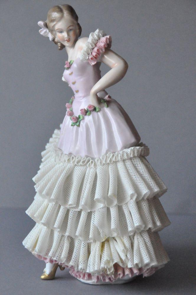 Rare Large Porcelain Dresden Volkstedt Sitzendorf Lace Figurine Figure Germany