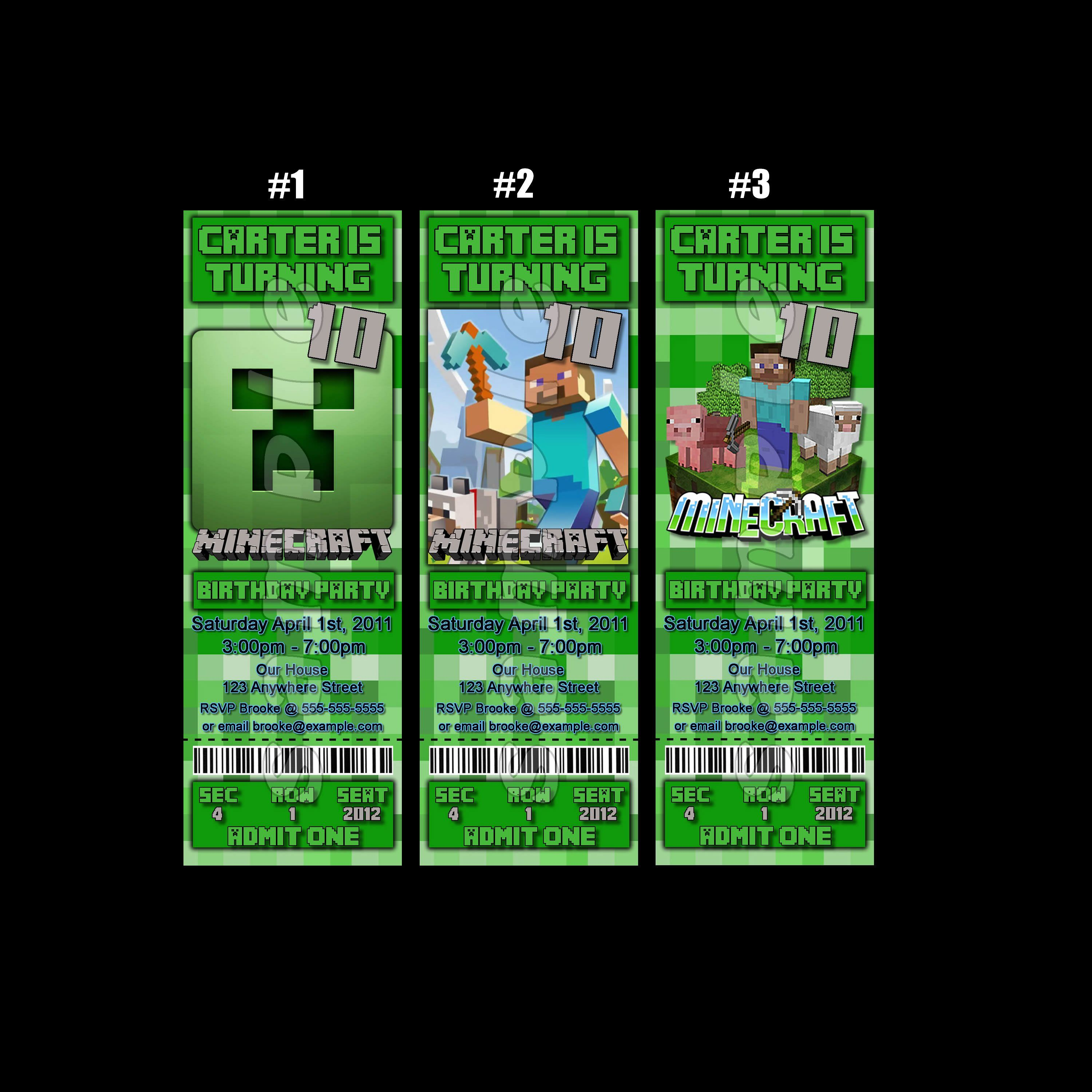 Minecraft Ticket Style #Personalized #Party #Invitations #handmade ...