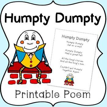photo relating to Humpty Dumpty Printable titled Humpty Dumpty Nursery Rhyme Printable Poem My TpT Retailer