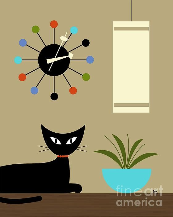 Donna Mibus Art Print Mid Century Modern Chair Black Cat Tikis Ball Clock