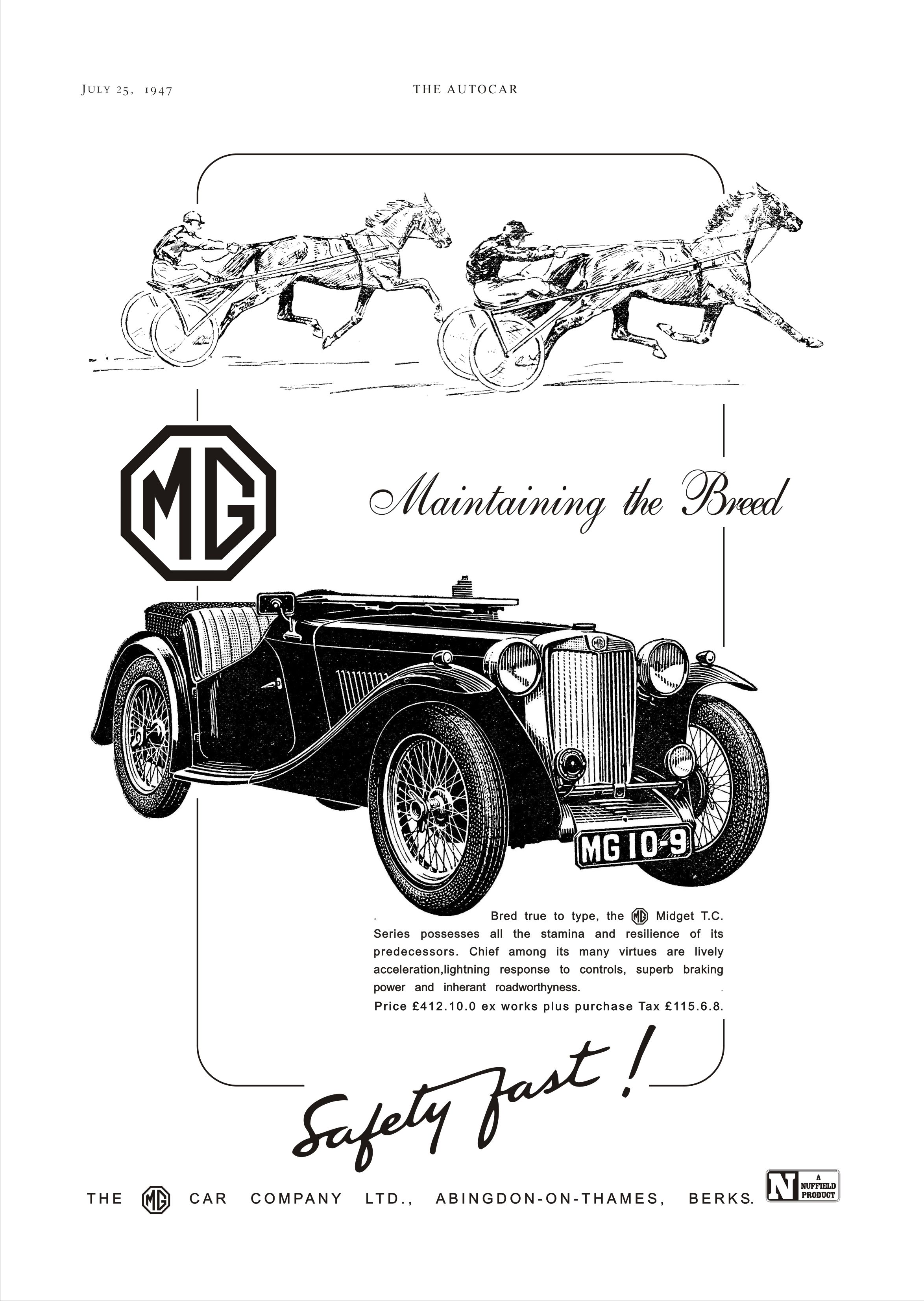 Mg Tc Car Motor Or Autocar Advert