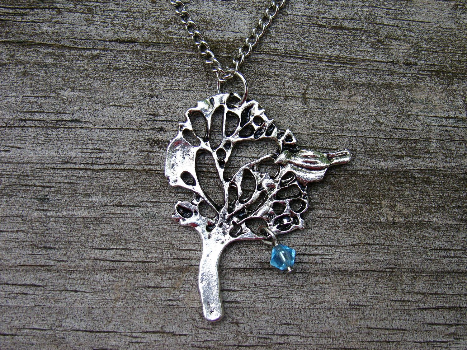 mama bird - custom silver necklace with 1 birthstone...order for Moms birthday!