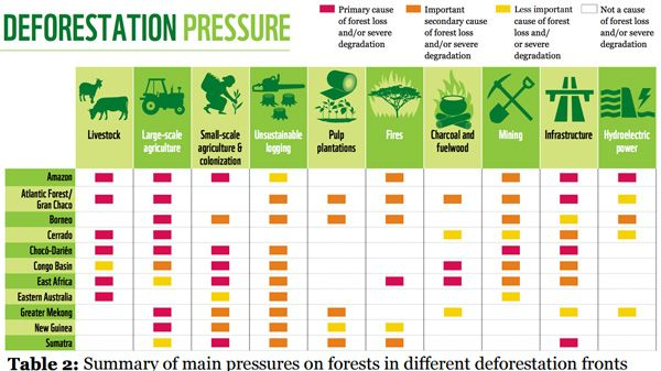 Summary of main pressures on forests in different deforestation fronts. The most common pressures causing deforestation and severe forest degradation are: large and small-scale agriculture; unsustainable logging; mining; infrastructure projects; and increased fire incidence and intensity. New roads can have a small direct impact but a large indirect effect through opening up forests to settlers and agriculture. Poor forest management, destructive logging practices and unsustainable fuelwood…