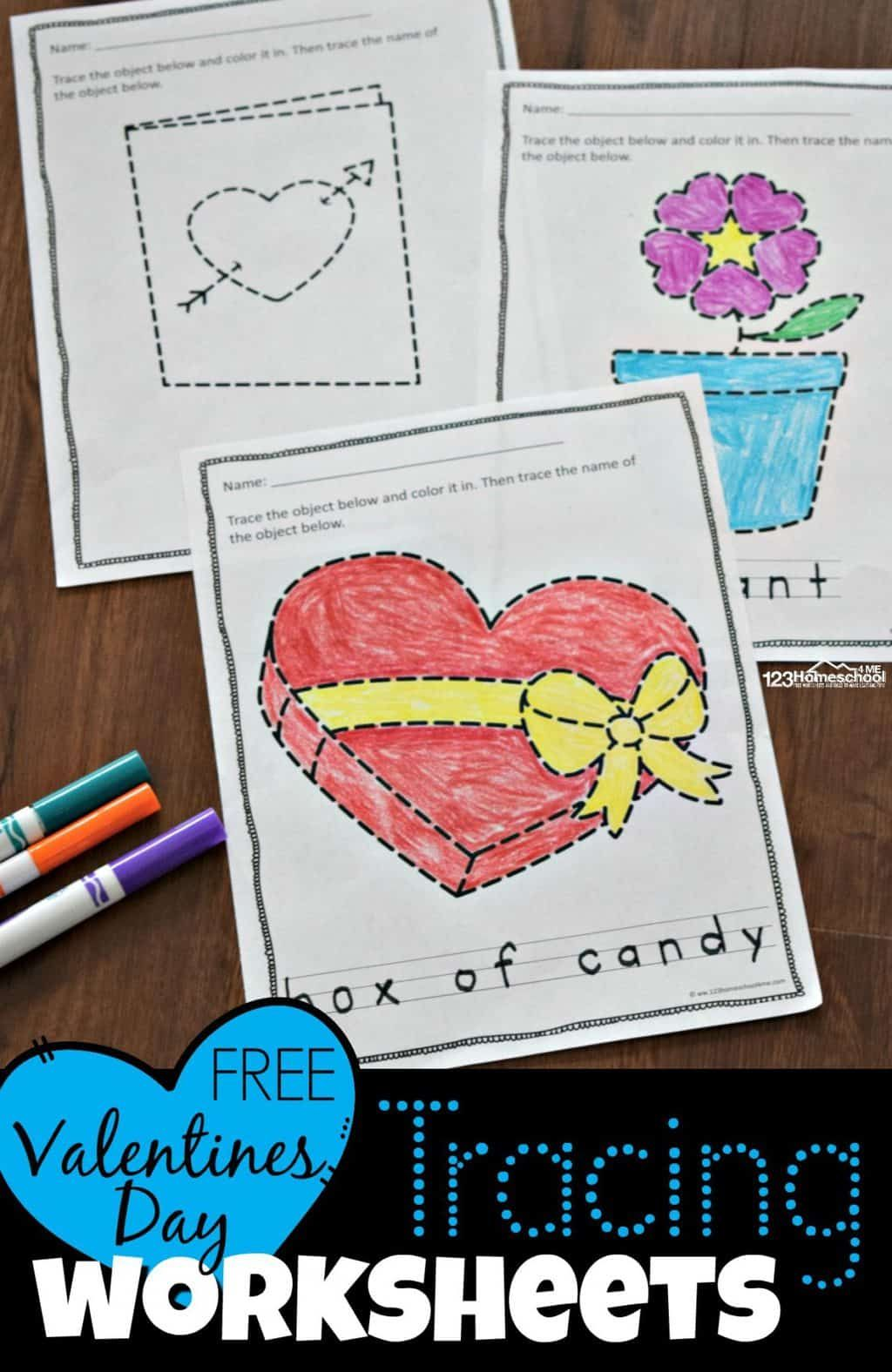 Free Valentines Day Tracing Worksheets In