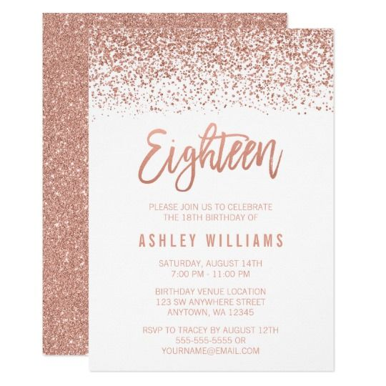 modern rose gold faux glitter 18th birthday invitation in 2018