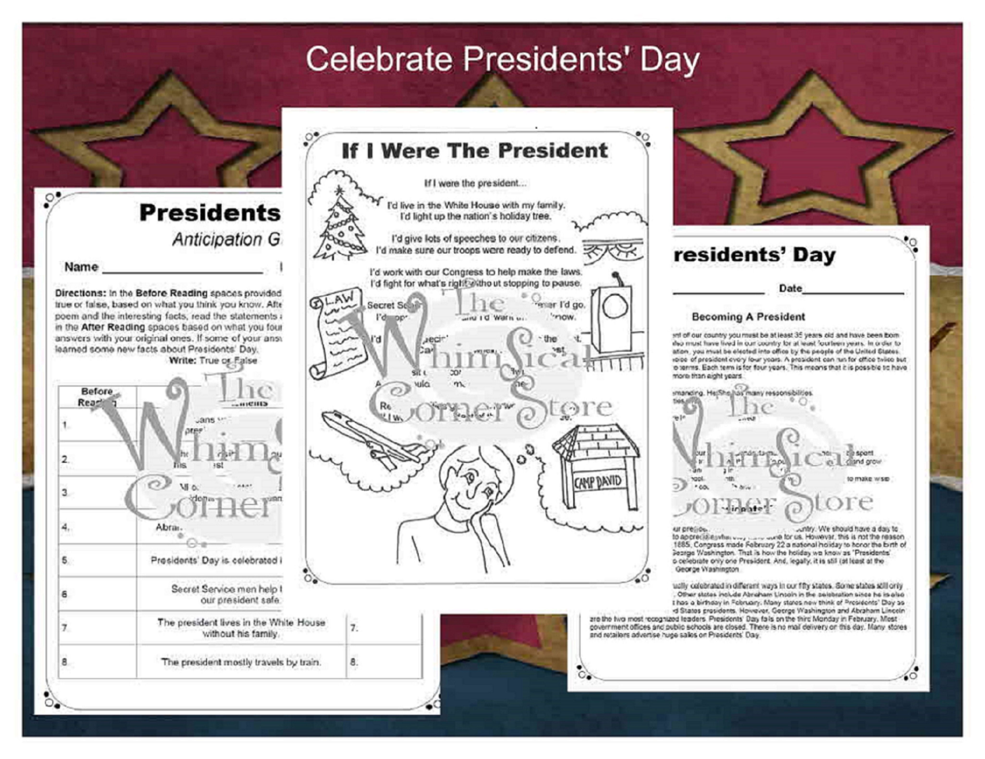 Presidents Day With Original Poetry Worksheets And A