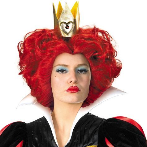 Red Queen of Hearts Wig Costume Accessory Adult Womens Wonderland Halloween