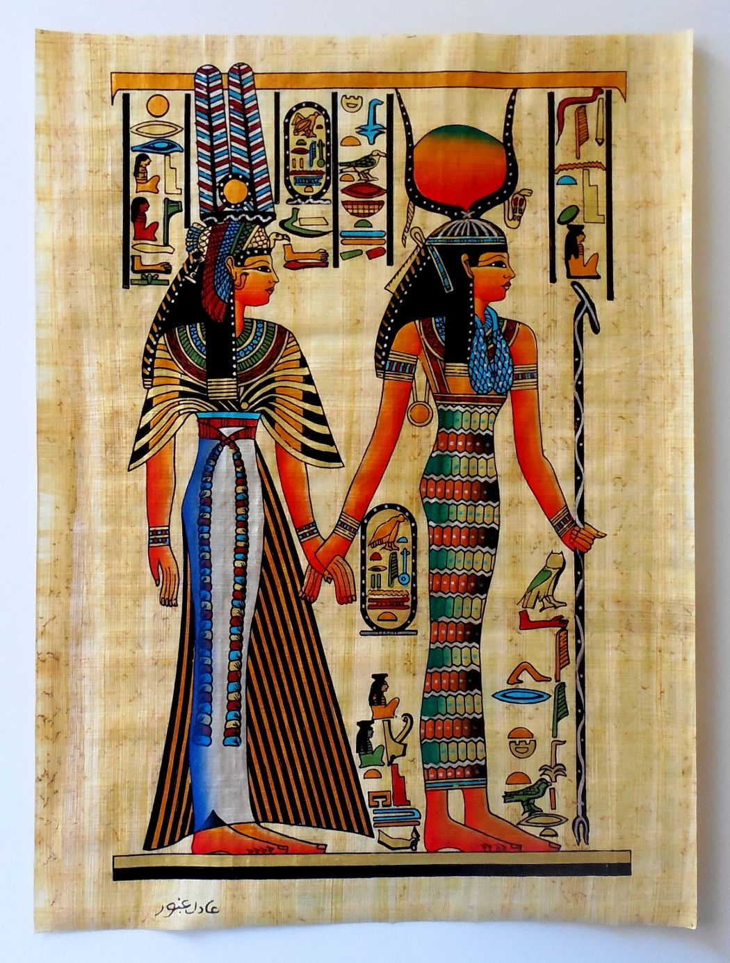 Isis and queen nefertari ancient egyptian papyrus for Egyptian mural paintings