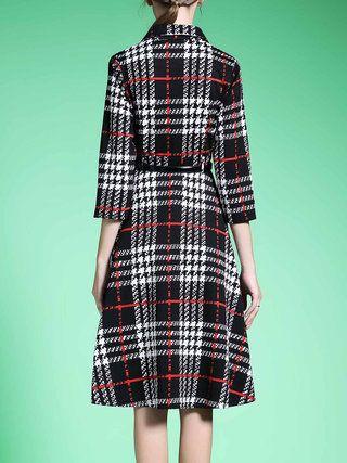 Black Checkered/Plaid 3/4 Sleeve A-line Midi Dress with Belt