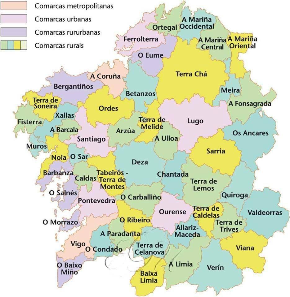Mapa De Galicia Pueblos.Comarcas De Galicia En 2019 Mapa De Galicia Mapa De