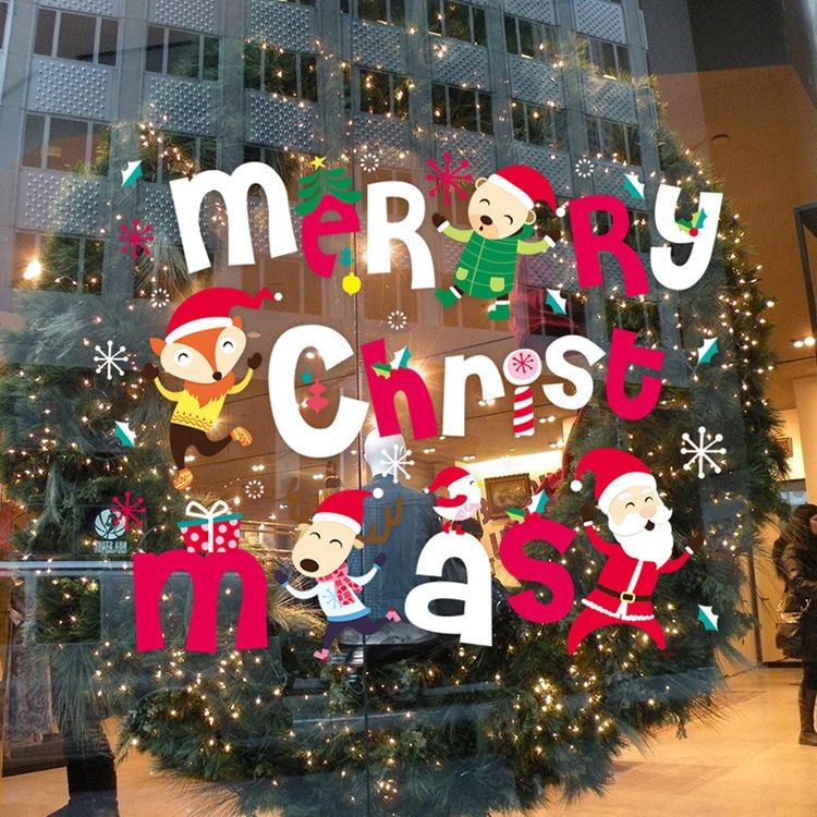 Wholesale Christmas Santa window glass decorative wall stickers door - wholesale christmas decor