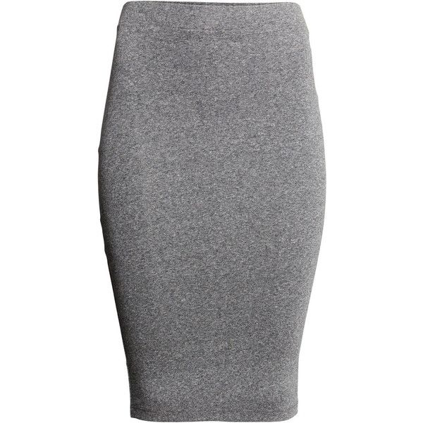 H&M Jersey skirt (20 BGN) ❤ liked on Polyvore featuring skirts, h&m, grey marl, grey knee length skirt, gray skirt, grey skirt, jersey skirt and grey cotton skirt