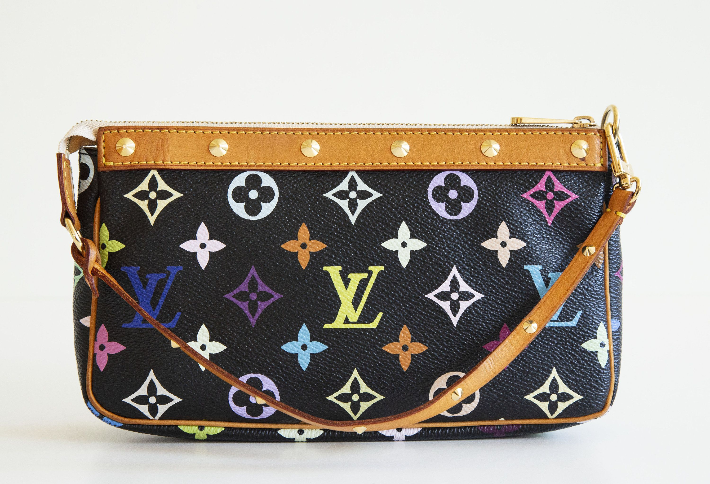 Louis Vuitton X Takashi Murakami Pochette Rainbow Lv Etsy In 2020 Vintage Designer Bags Bags Takashi Murakami