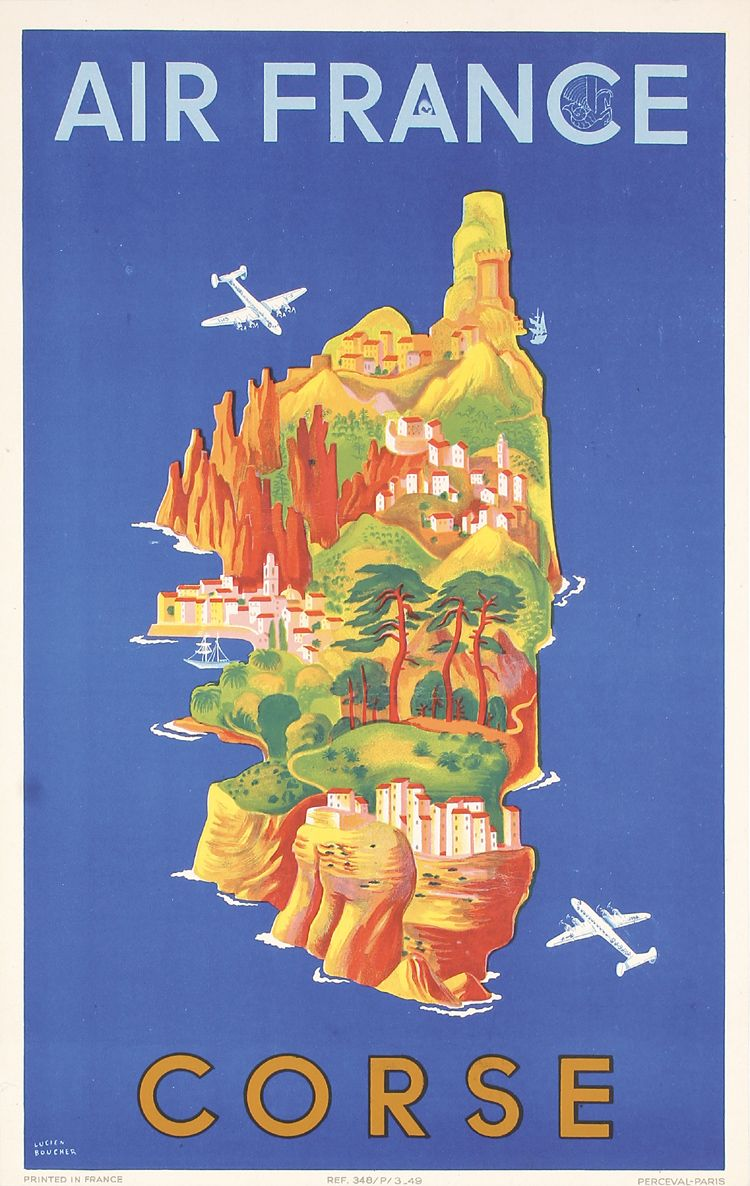 Sold Price Original 1940s Air France Travel Poster Corsica April 6 0117 12 30 Pm Pdt Travel Posters Air France Vintage Travel Posters
