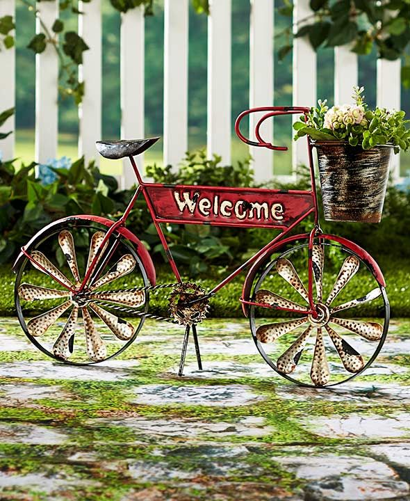 Superb Rustic Bicycle Planter Nostalgia Old Fashioned Basket Planter Yard Art Patio