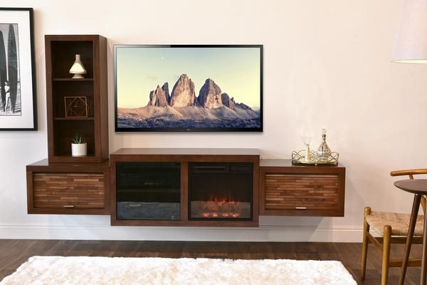Wall Mount Floating Fireplace Tv Stand Eco Geo Mocha Floating Fireplace Entertainment Shelves Fireplace Entertainment Center