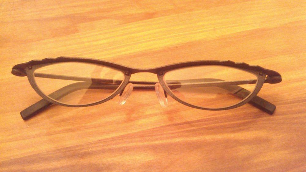 764093c21b Theo Eyeglass Frames Authentic september 242 Metallic Dk Gray Metal Shiny  Yellow  theo