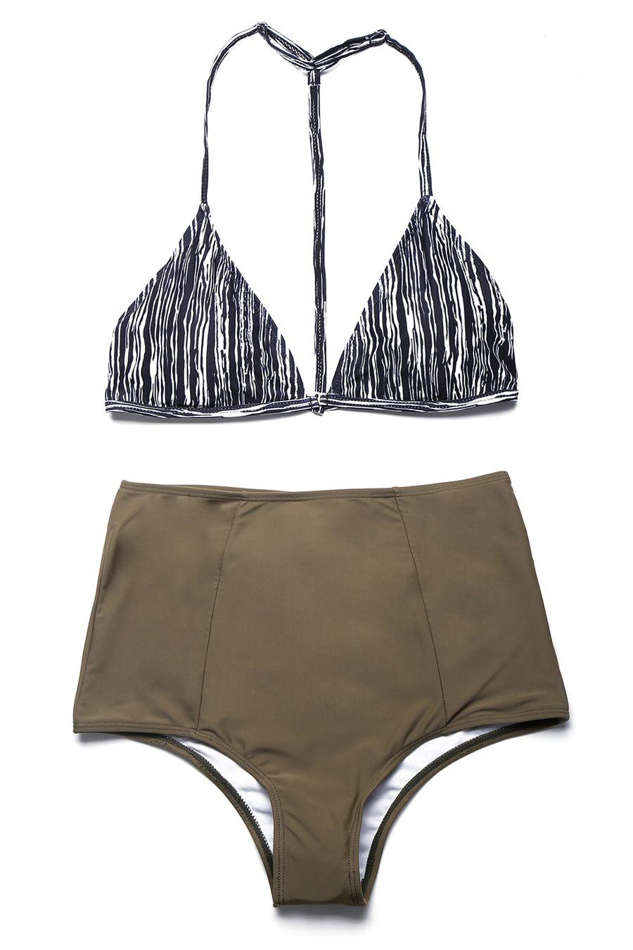 Vintage Two Piece Swimsuit High Waisted Bikini Bottom