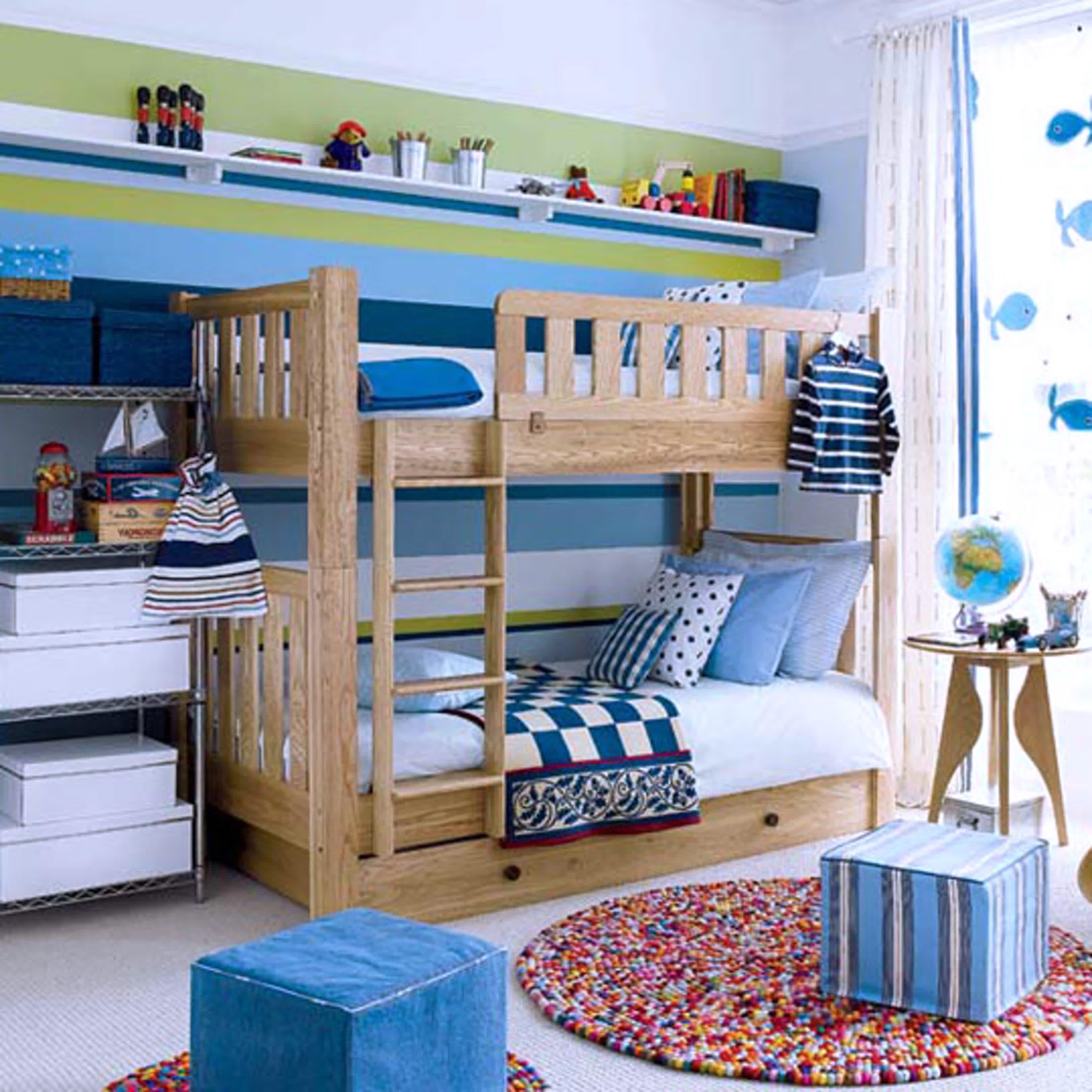 bedroom exciting image of blue boy bedroom decoration design idea using solid light oak wood kid bunk bed including light blue stripe cubic bedroom chair - Light Wood Kids Room Decor