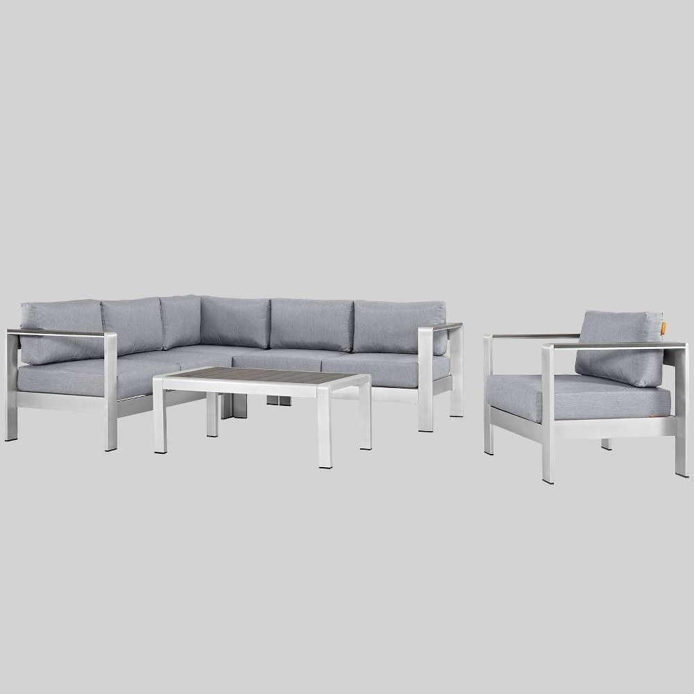 Shore 5pc Outdoor Patio Aluminum Sectional Sofa Set Gray Modway Sectional Patio Furniture Sofa Set Patio Sectional