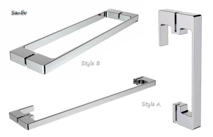 Frameless Glass Shower Door Pull Handle And Towel Bar U2013 Model No. 6751  Sanliv Back To Back Pull Handle And Single Sided Towel Bar Combinations For  Frameless