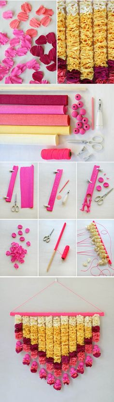 Click Through For The Full Tutorial On Oh Happy Day Ohhappyday 2014 07 Crepe Paper Petals Wall Hanging