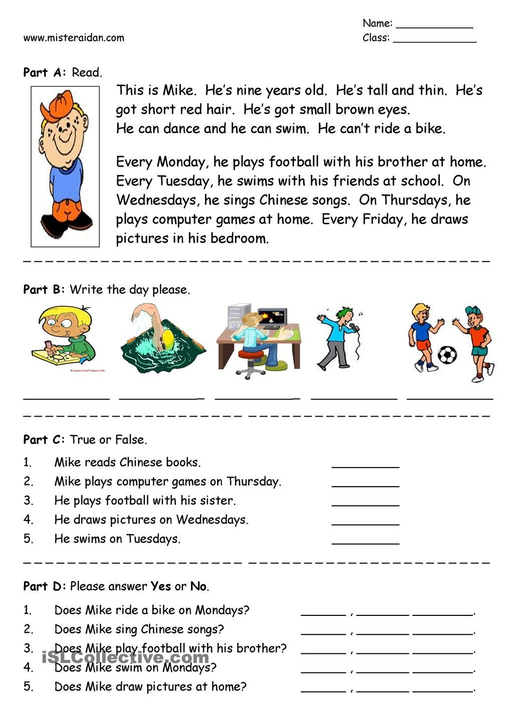 Workbooks year 2 comprehension worksheets free : Days of the Week - easy reading comprehension | Для ...
