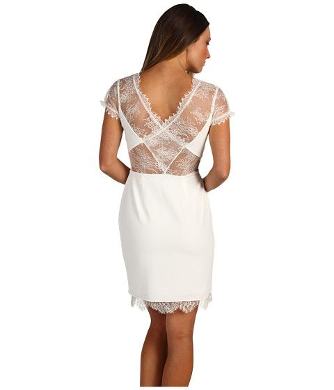 BCBGMAXAZRIA Lace Back and Trim Dress White - Zappos.com Free Shipping BOTH Ways
