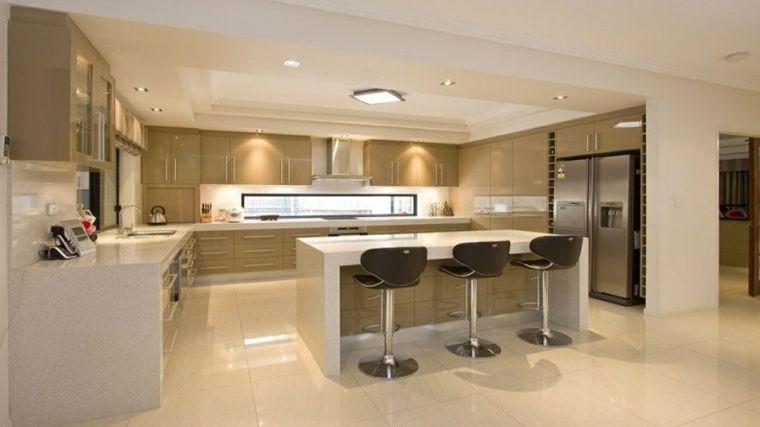 Come arredare open space cucina soggiorno mobili beige laccati