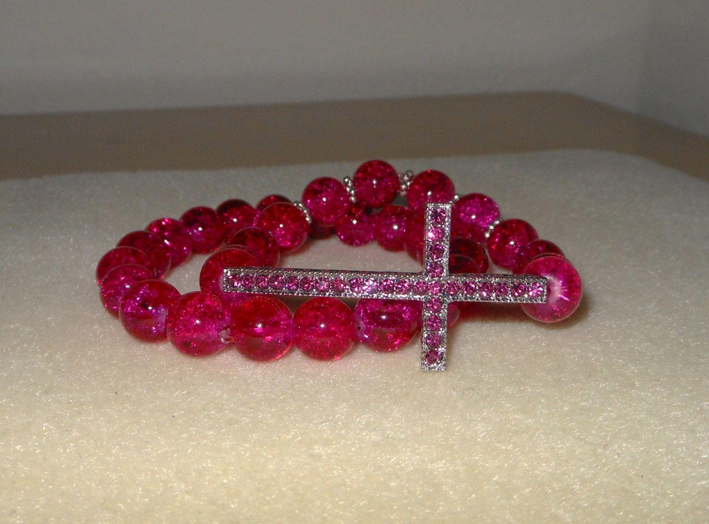 Faith/Cross bracelet set/double bracelet set/fire crackled glass bracelet in magenta/crystal cross bracelet by CreationsbyMaryEllen on Etsy