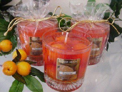 11 oz Gel Tumbler Tangerine Scent Candle by Unique Aromas. $22.13. Price per jar candle. Candle color may vary from photograph. Tangerine scent. This candle is sure to bring joy and warmth to all those in the presence of it.Some assembly may be required. Please see product details.Some assembly may be required. Please see product details.
