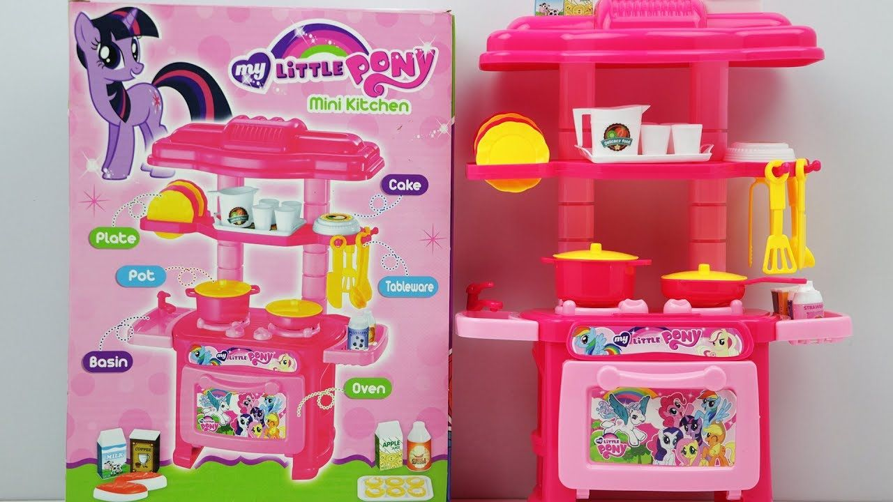 My Little Pony Mini Kids Kitchen Set Unpacking Toy Review For