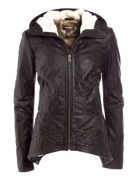 Danier : womens : Danier|Textured Lamb Leather Jacket With Hood ...