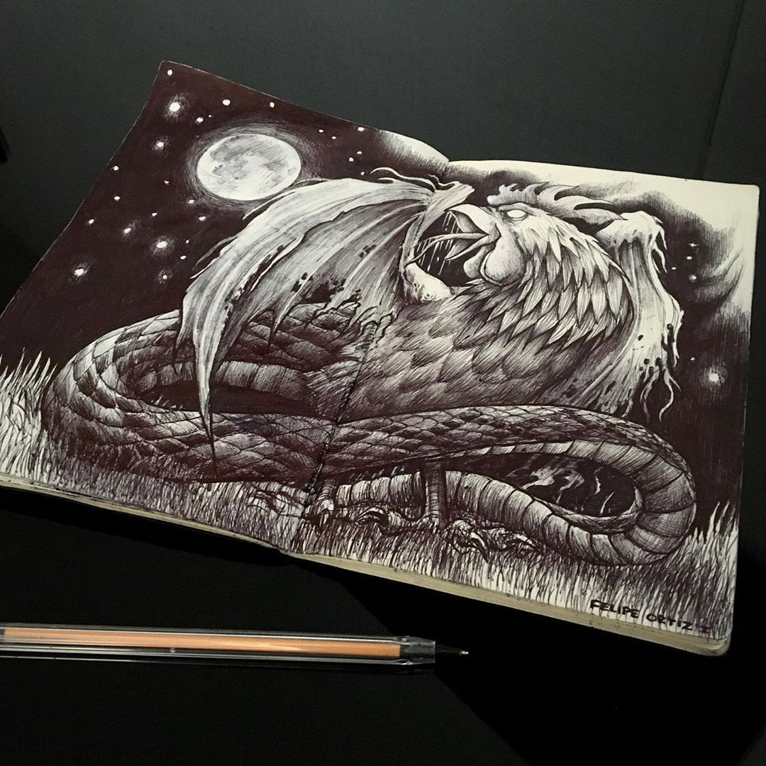 Dibujos de #cuarentena - Basilisco  Chilote 🐔🐍✍️✌️✌️✌️ #signostatuajes  #basilisco #chiloe #mythology #rooster #snake #draw #drawing #dibujo #sketch #design #tattoodesign #illustration #tattooartist #tattoo #quarentena #artwork #pen #blackwork #instachile #instatattoo #chiletattoo #instadraw