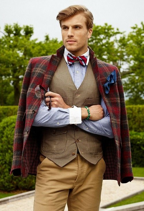 Beautiful plaid jacket with a nice bow tie | GQ | winter fashion