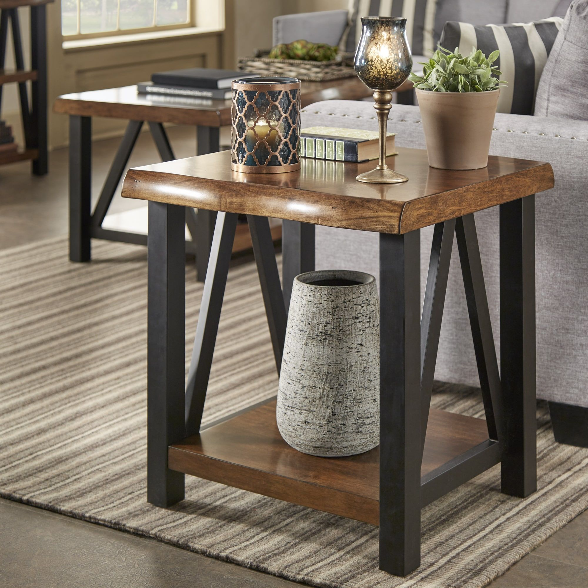 Banyan live edge wood and metal grey accent tables by inspire q artisan end table