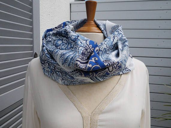 Snood or infinity scarf made circular scarf (2 different, like a ... 315fb1f2b4e